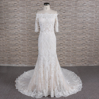 3/4 Sleeve Wedding Dress | Lace 3/4 Sleeve Trumpet Gown | KEZIA