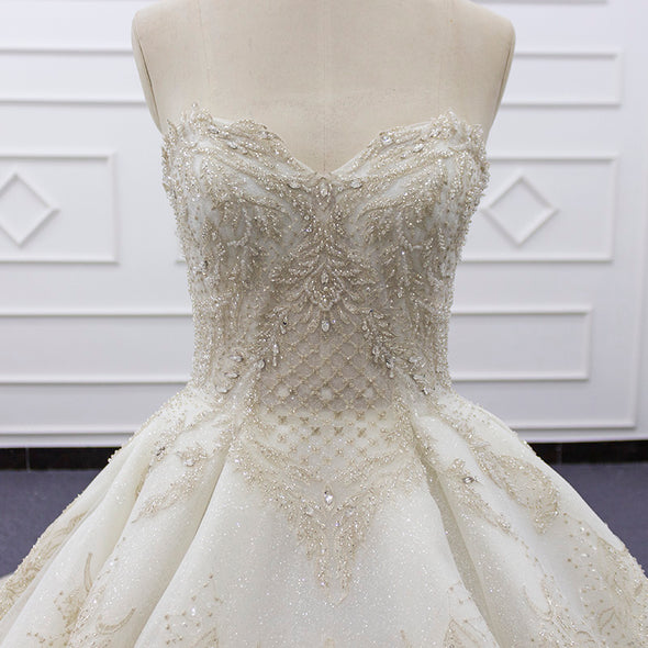 Wedding Ball Gown with Pearl and crystal beading | Bridal Luxury Ball Gown | KATHY