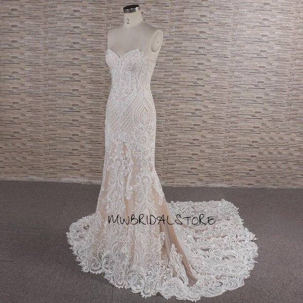Classic Lace Trumpet Wedding Dress | Nude Bridal Gown | BRIDGET
