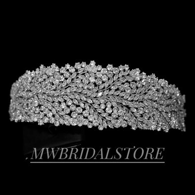 Wedding Tiara, Royal Tiaras, Rhinestone Tiara, Wedding Tiara Headpiece,, Wedding Headpiece - ELZA
