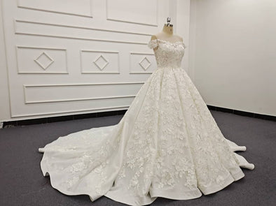 OFF SHOULDER Wedding Ball Gown | Bridal Luxury Lace Ball Gown | KEZ