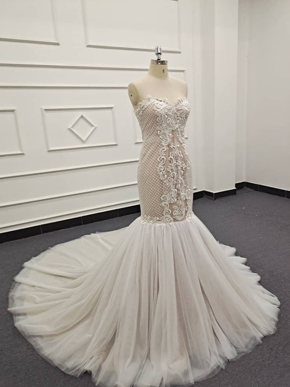Lace Wedding Dresses & Bridal Gowns | CLASSIC LACE TRUMPET WEDDING DRESS | Ivory BRIDAL GOWN |  Skyler