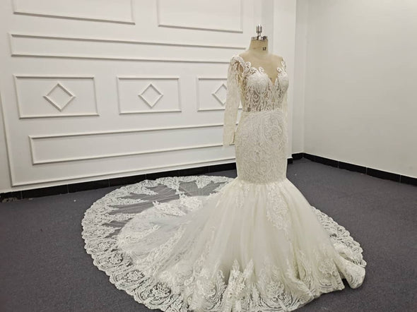 Lace Wedding Dresses & Bridal Gowns | CLASSIC LACE TRUMPET WEDDING DRESS | Ivory BRIDAL GOWN |  Marie