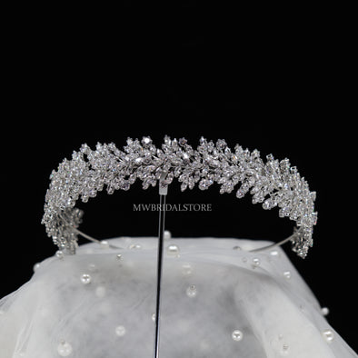Cubic Zirconia tiara, Crown Bridal tiara, Wedding crown, Bridal hair accessory, Wedding Headpiece, Floral tiara, CZ Wedding tiara, Bridal headband-MEG