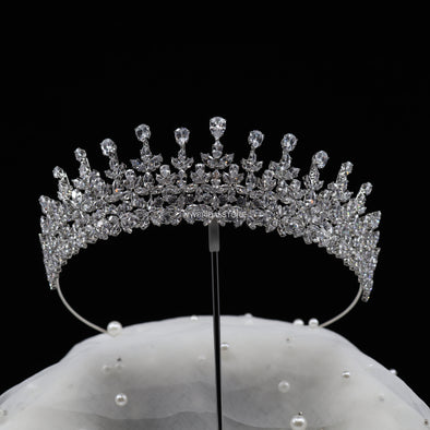 Luxury Bridal Full Crown, Queen Full crown, Wedding round Tiara Crown, Bridal Tiara, Wedding Bridal Headpiece, Wedding hair accessories, Crystal crown, Silver crown - LIZZ