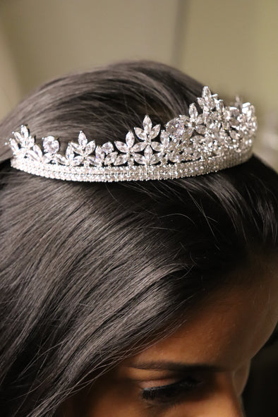 Cubic Zirconia Tiara , Silver Tiara , Wedding Tiara , Bridal headpiece , LARA