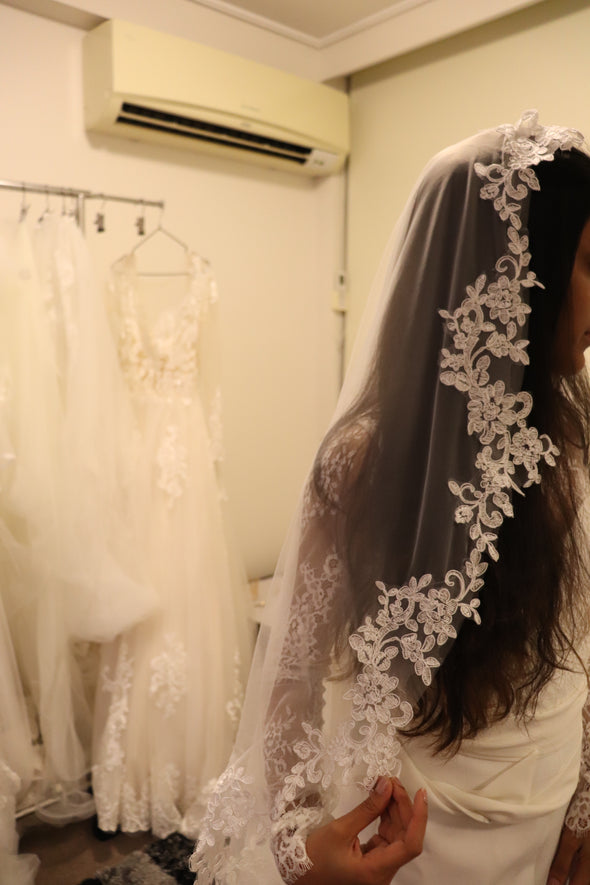 Lace Cathedral Wedding Veil, Single Tier Bridal Veil, LISA