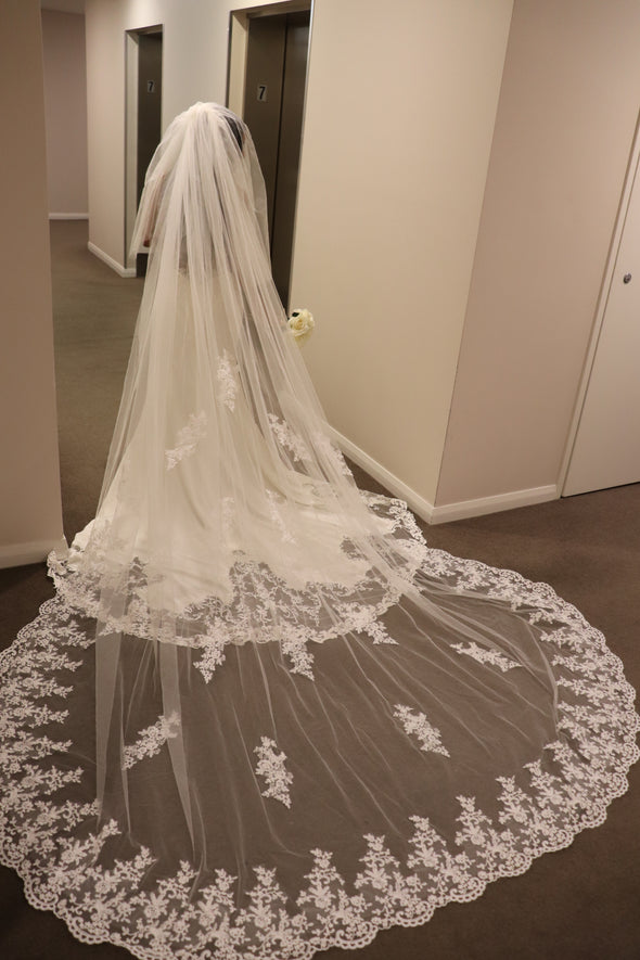 Cathedral length Wedding Veil, Two Tier Floral Wedding Veil, Wedding Veil with Blusher - SANDY