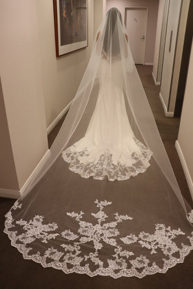 Lace Cathedral Wedding Veil, Bridal Wedding Veil