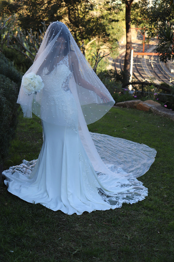 Pearl Bridal Veil, Pearl Embellished Two Tier Cathedral Veil, Lace Wedding Cathedral Veil, Ivory/ White Lace Cathedral Wedding Veil, Chapel Wedding Veil, Bridal Veil, Long Wedding Veil, White Wedding Veil, OLENA