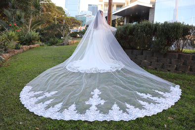 Cathedral Lace Veil | Two Tier Veil | Ivory Cathedral Veil Lace Veil | Rebecca