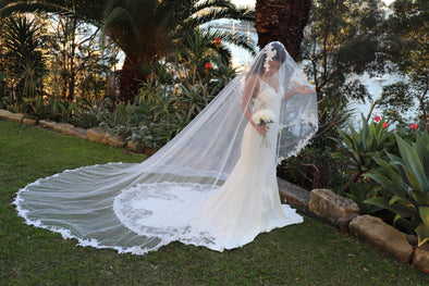Lace Wedding Cathedral Veil, Ivory/ White Lace Cathedral Wedding Veil, Chapel Wedding Veil, Bridal Veil, Long Wedding Veil, White Wedding Veil, , WEDDING LACE DROP STYLE VEIL, RENETA