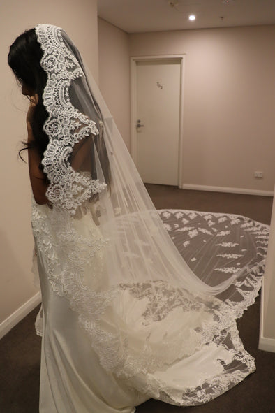 Royal Cathedral Lace Wedding Veil, Cathedral Mantilla Wedding Veil, 1 tier cathedral Mantilla Lace Veil, REANNA