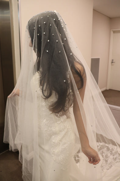 Crystal Rhinestone Scatter Wedding Veil