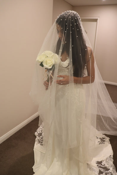 Pearl Wedding Drop Veil | Pearl Embellished Drop Cathedral Veil | Crystal Wedding Veil | ANDREA