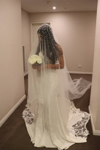 Pearl & Rhinestone Wedding Drop Veil | Pearl Rhinestone Embellished Drop Cathedral Veil | Crystal Wedding Veil | JASSANDRA