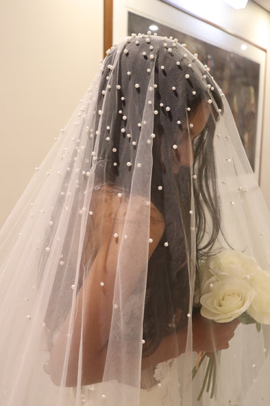 Wedding Veil with Scattered Pearls, Pearl Embellished Drop Cathedral Veil, Crystal Wedding Veil, DESIREE