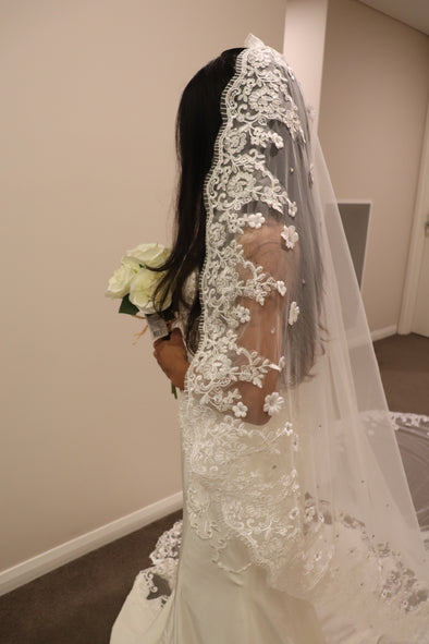 Wedding Cathedral Veil, Sequined Cathedral Drop Veil, Lace Mantilla Wedding Veil, MARIA