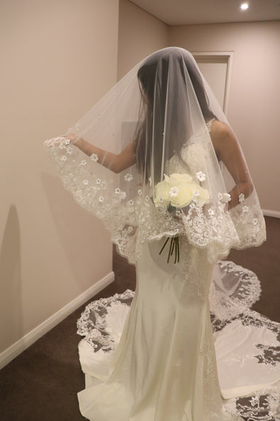Sequined Cathedral Drop Veil | Lace Mantilla Wedding Veil | MARIA