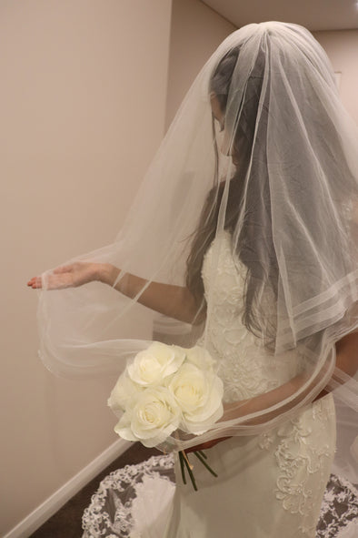Two Tier Cathedral Horsehair Veil, Double Horsehair Veil, JEAN