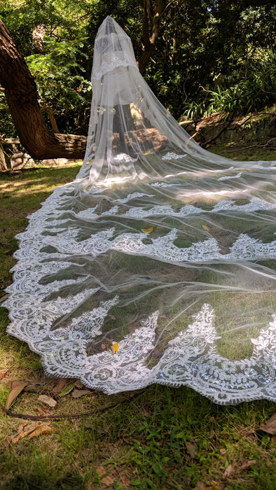 Bridal Veils, wedding Veil,Cathedral wedding Veil, 3D Floral Cathedral Wedding Veil