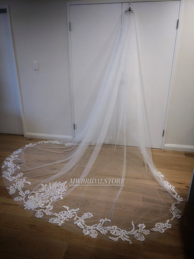 Lace Wedding Cathedral Veil, Royal Cathedral Length Wedding Two Tier Floral Lace Veil, 3 meter Ivory Veil, Cathedral lace Veil JALE