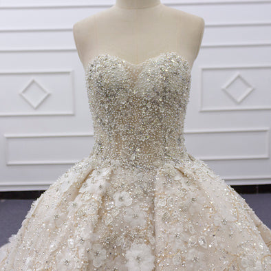 Wedding Ball Gown with Pearl and crystal beading | Bridal Luxury Ball Gown | ANNABELLE