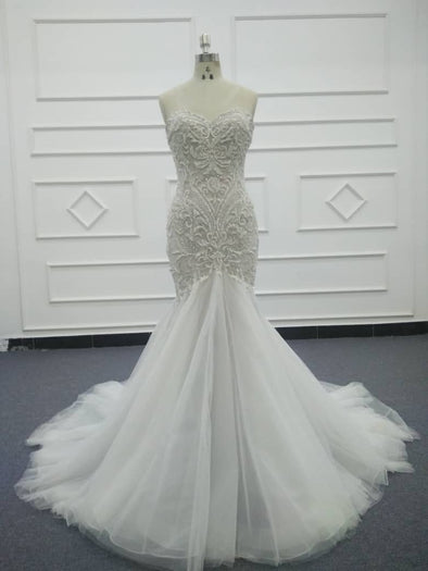 Lace Wedding Dresses & Bridal Gowns | CLASSIC LACE TRUMPET WEDDING DRESS | Ivory BRIDAL GOWN |  Victoria
