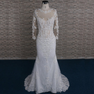 LACE LONG SLEEVES WEDDING DRESS & BRIDAL GOWN | APRIL
