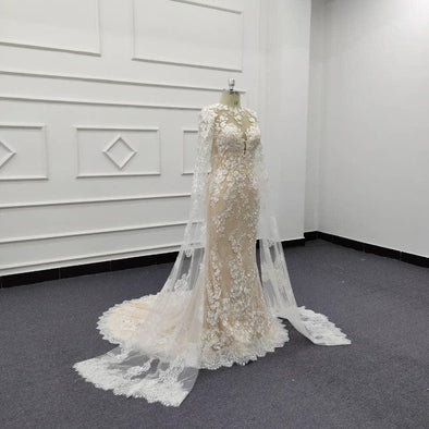 wedding dress with veil attached