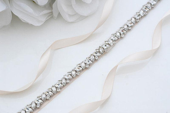 Rhinestone Crystal Beaded Bridal Belt - RILEY