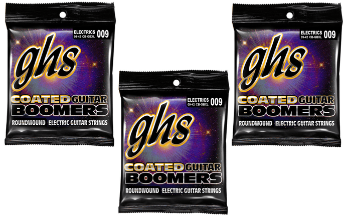 GHS Coated Boomers Extra Light Strings 9-42 - 3 Pack