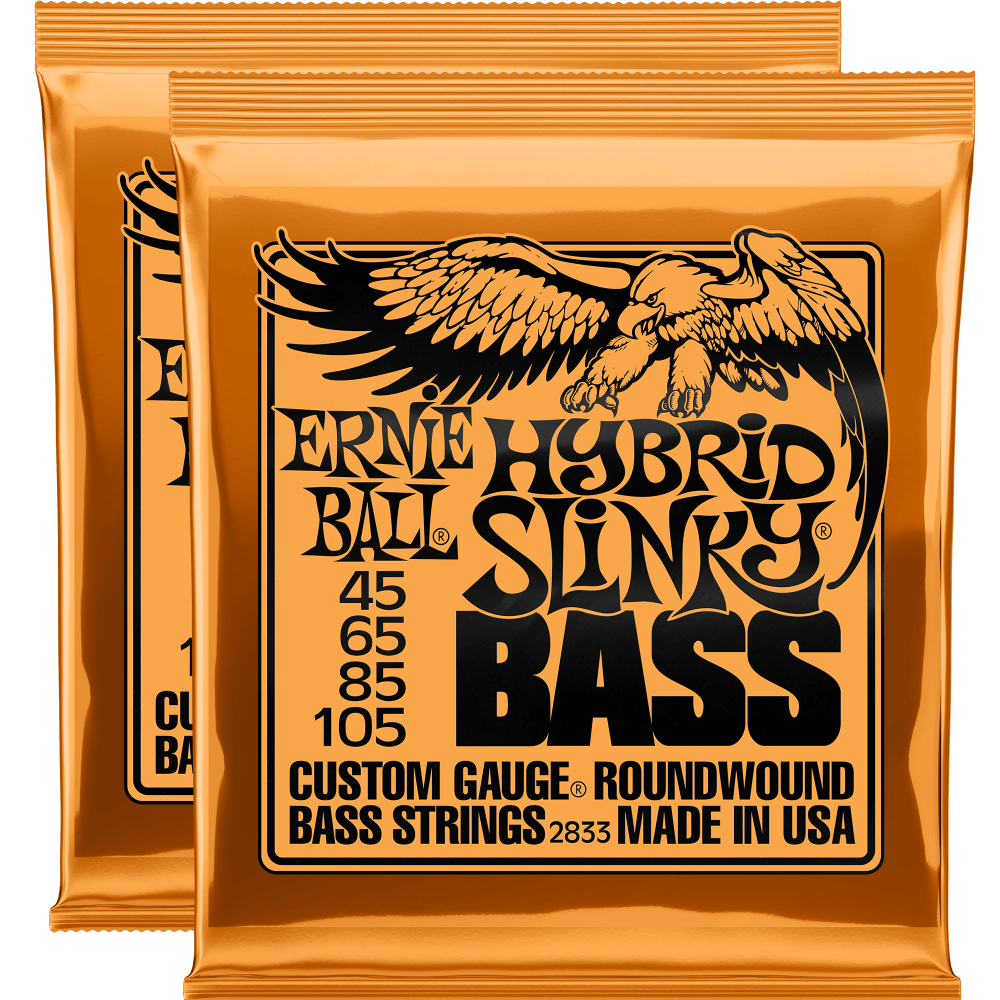 Ernie Ball Hybrid Slinky Nickel Wound Electric Bass Strings (45-105) 2 Pack