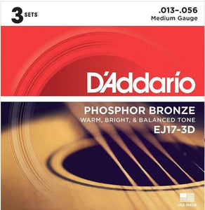 D'Addario EJ17 Phosphor Bronze Acoustic Guitar Strings - Medium 13-56 (3 Pack) - Tensolo Music Co.