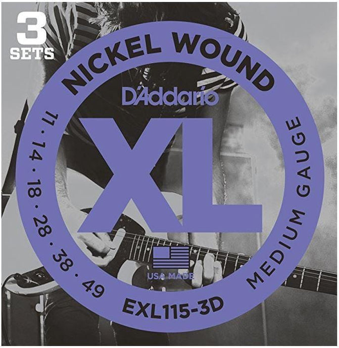 D'Addario EXL115-3D Nickel Wound - Medium/Blues-Jazz Rock 11-49 (3 Pack) - Tensolo Music Co.