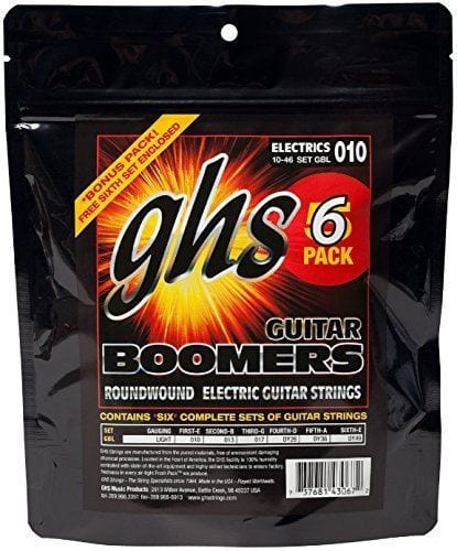 GHS Boomers Light Strings 10-46 - 5 PACK w/free bonus 6th set
