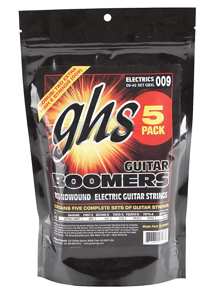GHS Boomers Extra Light Strings 9-42 - 5 PACK w/free bonus 6th set + Free Shipping!