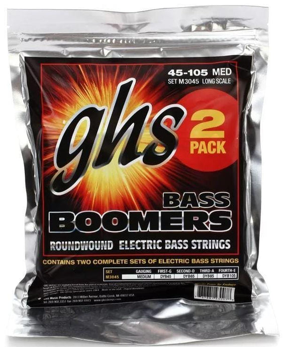 GHS Bass Boomers - Roundwound Long Scale Medium  - 45-105 M30452 (2 Pack) + Free Shipping!