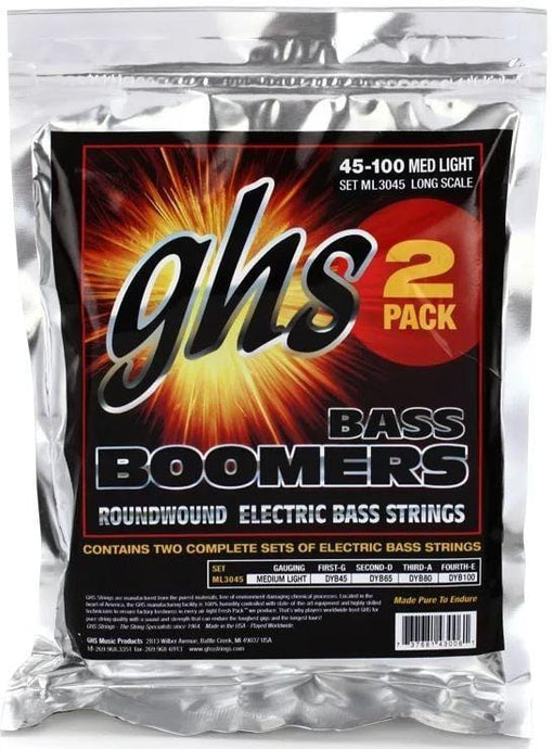 GHS Bass Boomers - Roundwound Long Scale Medium Light - 45-100 ML30452 (2 Pack) + Free Shipping!