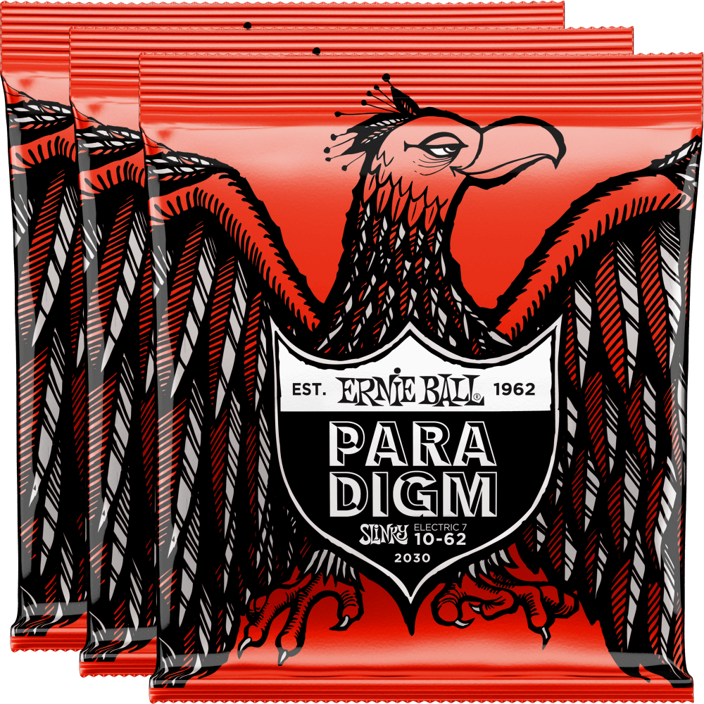 Ernie Ball Paradigm 7-String Skinny Top Heavy Bottom Slinky Strings 10-62 - 3 Pack