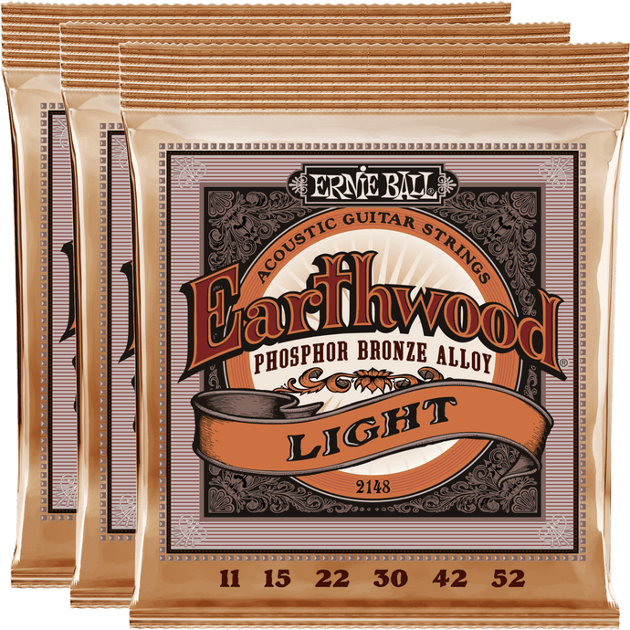 Ernie Ball Earthwood Phosphor Bronze Acoustic Strings (11-52) 3 Pack