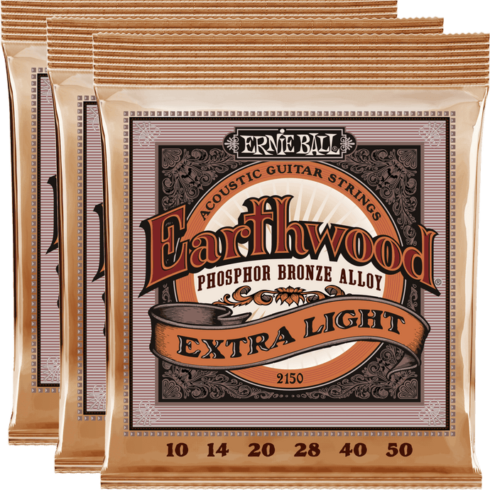 Ernie Ball Earthwood Phosphor Bronze Acoustic Strings (10-50) 3 Pack