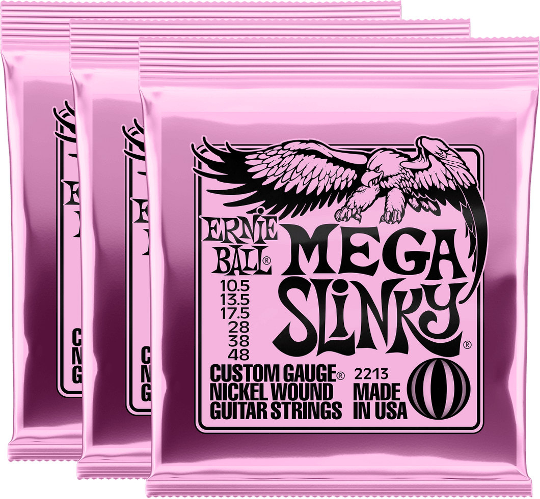 Ernie Ball Mega Slinky Nickel Wound Electric Guitar Strings (10.5-48) 3 Pack
