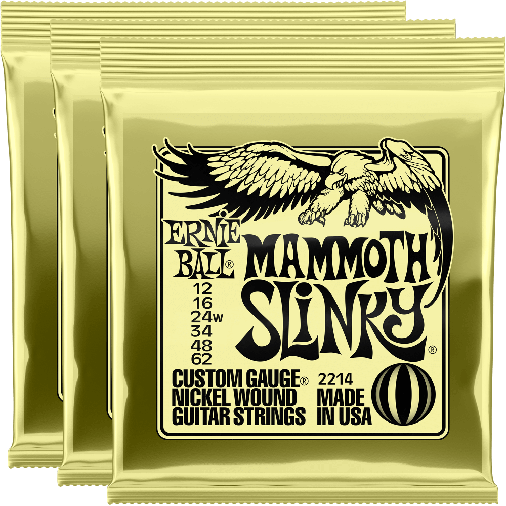 Ernie Ball Mammoth Slinky Nickel Wound Strings (12-62) 3 Pack