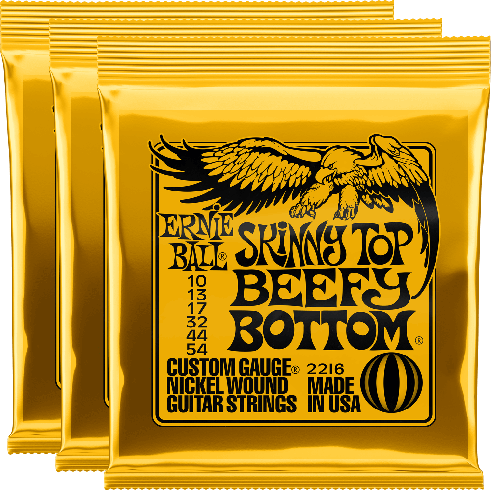 Ernie Ball Skinny Top Beefy Bottom Slinky Nickel Wound Strings (10-54) 3 Pack