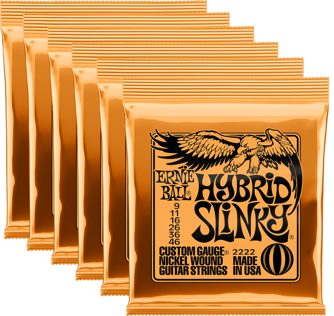 Ernie Ball Hybrid Slinky Nickel Wound Electric Guitar Strings (9-46) 6 Pack