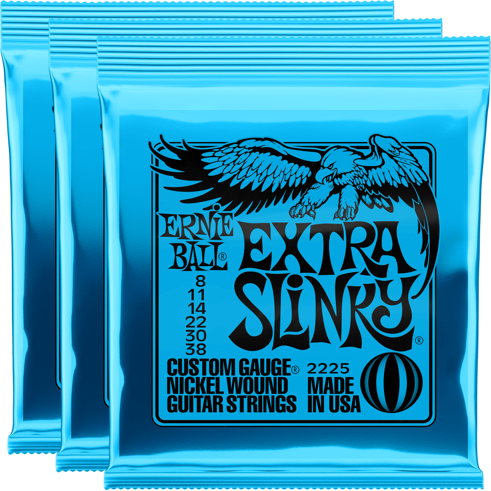 Ernie Ball Extra Slinky Nickel Wound Strings (8-38) 3 Pack