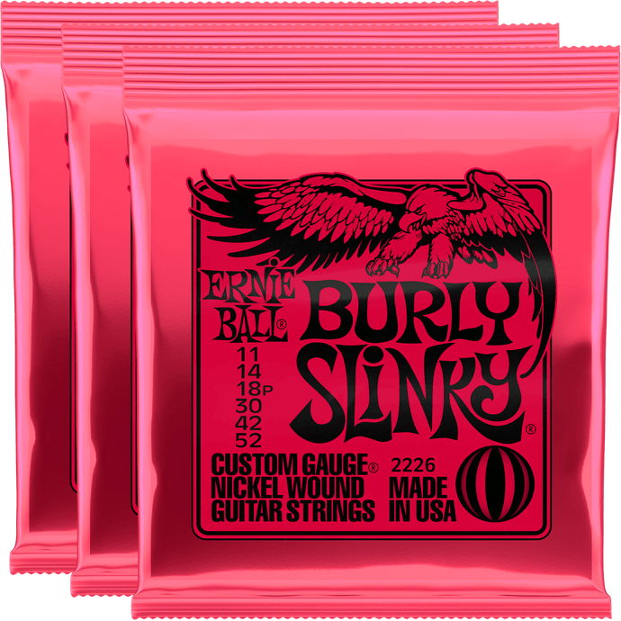 Ernie Ball Burly Slinky Nickel Wound Strings (11-52) 3 Pack