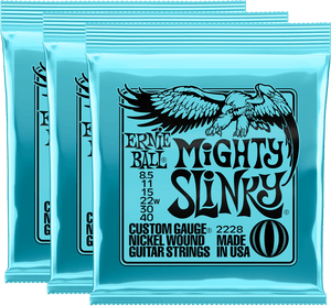 Ernie Ball Mighty Slinky Nickel Wound Electric Guitar Strings (8.5-40) 3 Pack