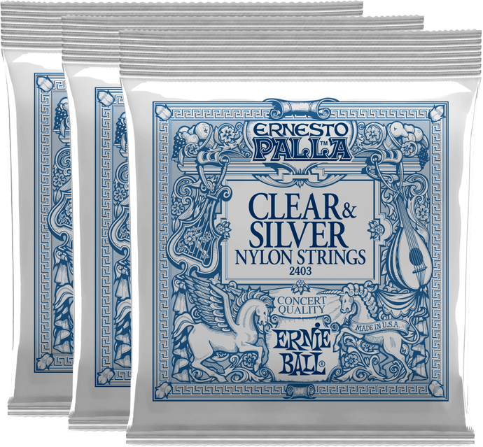 Ernie Ball Ernesto Palla Clear & Silver Nylon Classical Guitar Strings 3 Pack